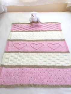 Knit Baby Blanket Pattern. This adorable baby blanket pattern is easy to knit with simple, basic stitches. It would be a wonderful gift for any sweet new baby. Pattern name: Baby Heart Blanket  Very popular and easy pattern, over 1,000 sold with great reviews! Included for free with your purchase, is the full size Seaside Blanket pattern. ¸.•*¨*•.¸♥¸.•*¨*•.¸♥¸.•*¨*•.¸♥¸.•*¨*•.¸♥¸.•*¨*•.¸♥¸.•*¨*•.¸♥¸.•*¨*•.¸♥¸.•*¨*•.¸♥¸.•*¨*•.¸  This listing is for a KNITTING PATTERN, not the physical baby…