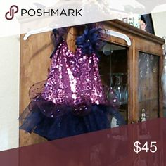 Dance outfit Navy blue with dark purple sequins worn once WEISSMAN Costumes Dance