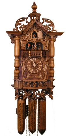 Adolf Herr Cuckoo Clock of the railway house clock. It is decorated with intricate hand-carved leaves and has wooden pine cones. Globes Terrestres, Coo Coo Clock, Classic Clocks, Cool Clocks, Antique Clocks, Vintage Clocks, Time Clock, Wooden Clock, Black Forest