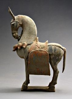 Terracotta horse statue, done in the Bei Wei style. Wei dynasty, the longest lived and most powerful of the northern Chinese dynasties before the reunification of China under the Sui and Tang dynasties, founded by Tabgatch tribesmen who, like many of the nomads inhabiting the frontiers of northern China, were of uncertain origin. Their language was basically Turkish, and scholars presume that their ancestry can be traced to proto-Turkish, proto-Mongol, or Xiongnu peoples but non-Han Chinese.