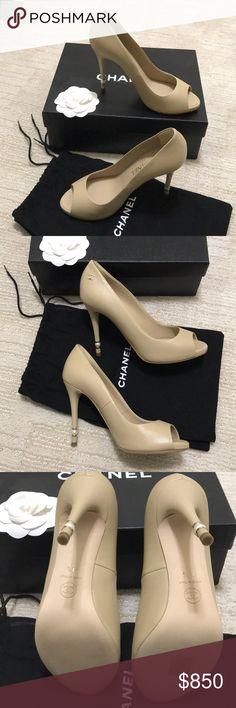 56054c31014 Chanel peep toe pumps Authentic CHANEL peep toe beige pumps!! Super cute