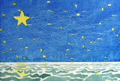 Original painting watercolor Yellow Star child's room by CynART, $20.00