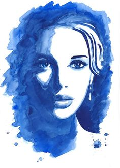 Print from Original Watercolor Illustration Portrait Woman Modern Art Painting Wall Art titled Forget Me Not