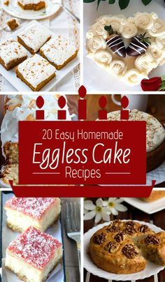 Homemade Eggless Cake Recipes The sweet taste of the cake connects people to their fond memories and it becomes all the more special if it is a homemade cake. Eggless Desserts, Eggless Recipes, Eggless Baking, Easy No Bake Desserts, Homemade Cake Recipes, Baking Recipes, Dessert Recipes, Sweet Desserts, Baking Desserts