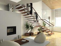 Hell, elegant, schlicht...ein Traum von einem Wohnzimmer. Mit Wendeltreppe UND Kamin!!! #Haus #Bauen #Einfamilienhaus #Immobilien #KIP