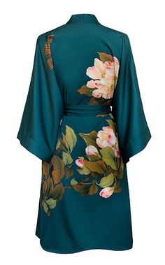 Robe Short - Watercolor Floral, peony & butterfly- vintage teal / Amazon