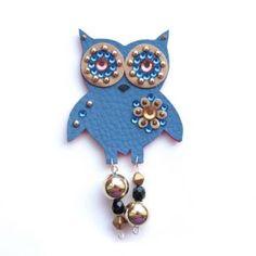 Modro zlatá sovička s nožičkami Belly Button Rings, Brooch, Jewelry, Jewlery, Jewerly, Brooches, Schmuck, Jewels, Belly Rings