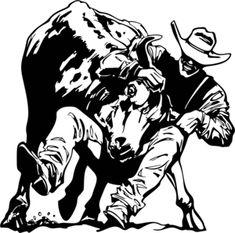 "Steer Wrestling Decal #02 Western,Rodeo Decals, Bull 8"" - Wildlife Decal"