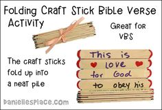 Folding Craft Stick Bible Verse Activity for VBS - This is a great craft for children who can write.  It will help them remmeber their Bible verse in a fun interactive way.