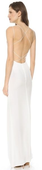 $600, White Evening Dress: Olcay Gulsen Crossed Back Maxi Dress. Sold by shopbop.com.
