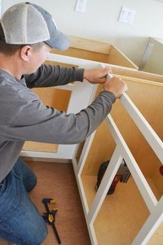 Video:How to Build Face Frames for Kitchen Cabinets Easy DIY Projects from Ana White Building Kitchen Cabinets, Diy Kitchen Cabinets, Built In Cabinets, Kitchen Ideas, Kitchen Decor, Kitchen Remodeling, Base Cabinets, Cupboards, How To Build Cabinets