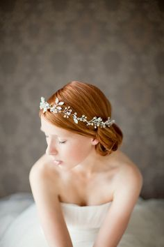 Bridal Crown Veil Alternative  This hair accessory is gorgeous: it's made of Preciosa rhinestones, Swarovski crystal beads, blush pink pearls, and is wired by hand. The ends, finished with ivory silk ribbons, can accommodate any hairstyle.