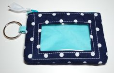 ID Wallet Coin Purse Blue and White Polka Dots by BusyBirdee on Etsy