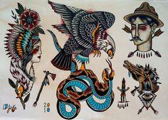 traditional tattoo flash eagle | Tattoo Flash