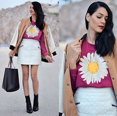 White skirt with graphic t-shirt