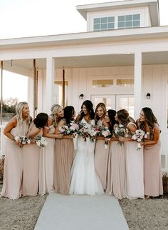Blush and Green Texas Wedding at The Grand Ivory - Inspired By This Spaghetti Strap High Low Summer Wedding Bridesmaid Dresses Bridesmaid Dresses Under 100, Neutral Bridesmaid Dresses, Bridesmaids And Groomsmen, Wedding Dresses, Champagne Bridesmaid Dresses, Bridal Party Dresses, Modest Wedding, Bridesmaids With Different Dresses, Bridal Gown