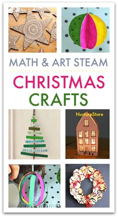 Math and art STEAM crafts for Christmas, STEAM Christmas activities, math crafts Christmas Math, Christmas Crafts For Kids To Make, Christmas Activities For Kids, Christmas Tree Crafts, Christmas Ideas, Science For Kids, Art For Kids, Math Crafts, Kid Crafts