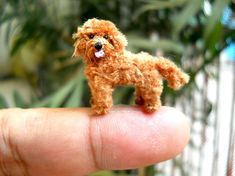 Brown Labradoodle - Tiny Crochet Miniature Dog Stuffed Animals - Made To Order