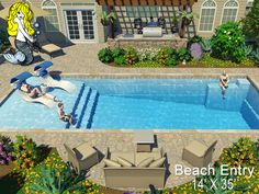 x Beach Entry Fiberglass Swimming Pool by Tallman Pools featuring Stylish beach entry, two built-in relaxation benches, convenience ledge, deep end step outs and spacious swim corridor. Backyard Pool Landscaping, Backyard Pool Designs, Small Backyard Pools, Swimming Pools Backyard, Swimming Pool Designs, Lap Pools, Indoor Pools, Small Pools, Pool Decks