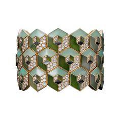 High Jewelry bracelet Bracelet - yellow gold, nephrite jade, chrysoprases, onyx, brilliant-cut diamonds.