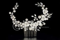 moldable Bridal Hair Comb with Porcelain Flowers and Pearls from Cassandra Lynne
