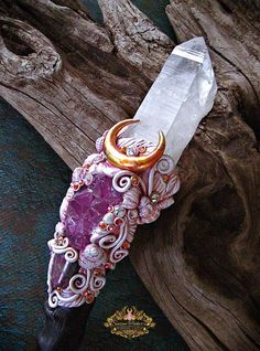 Magic Crystal Wand Pink Fluorite Rose Quartz Druzy Agate Pagan Altar Reiki Ritual Wiccan Magick Shrine Art HAIL APHRODITE by Spinning Castle
