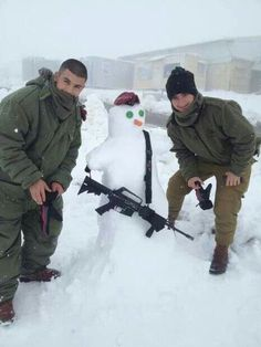 Israel Defense Force enjoying all this snow