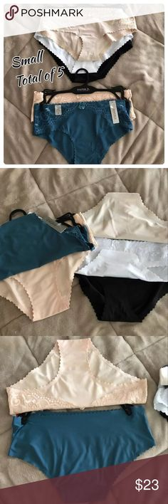 Lot of 5 panties Small NWT Brand New with tags!! Ships Fast! Woman's Size Small  Lot of 5 invisible edge Panty Lot Of 5 Super Soft silky, high Quality! Hipsters  With beautiful scalloped edging Sophie B brand blue and light pink set Kathy Ireland essential Colors,  White , black , ivory  Bundle$Save! Intimates & Sleepwear Panties