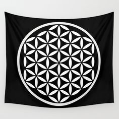 Flower of Life Yin Yang Wall Tapestry by Azima - Small: x Platonic Solid, Black And White Stars, Rainbow Chevron, Water Color World Map, Life Form, Flower Of Life, Abstract Watercolor, Yin Yang, Abstract Pattern