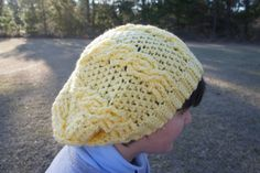 Crochet Cable Light Yellow Super Slouchy Chunky Beanie Hat - pinned by pin4etsy.com
