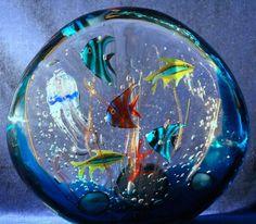 MAGNIFICENT Large MURANO Glass Fish AQUARIUM Sculpture by MAESTRO Elio RAFFAELI
