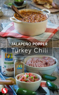 Spice up your chili with this simple Jalapeno Popper Turkey Chili recipe. This soup is full of flavor and only takes 25 minutes to whip up. Heat up your dinner with this easy chili recipe today! Chili Recipes, Slow Cooker Recipes, Crockpot Recipes, Soup Recipes, Cooking Recipes, Healthy Recipes, I Love Food, Good Food, Cinco De Mayo