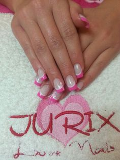 Pink and White French Manicure with Bow Detail