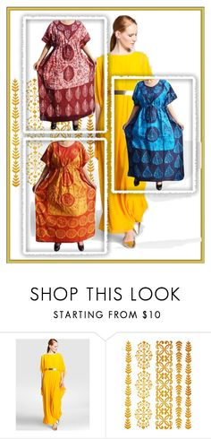 Caftan Style Dresses by lavanyas-trendzs on Polyvore  #kaftandress #kaftannighty #kimono #lounger #coverup #longdress #maxidress #loosedress #kimonokaftan #womenkaftan