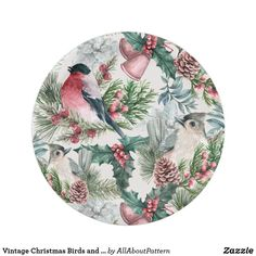 Vintage Christmas Birds and pines floral pattern Paper Plate Christmas Paper Plates, Christmas Bird, Victorian Christmas, Christmas Themes, Vintage Christmas, Bird Patterns, Vintage Patterns, Floral Paper Plates, Victorian Pattern
