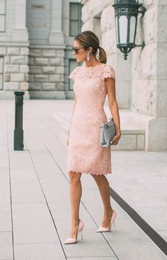 Choosing a blush pink lace dress like this one is the perfect way to get a sexy chic look which simply oozes femininity! Christine Andrew wears this look with a pair of stilettos and neutral accessories. Dress: Nordstrom.