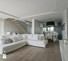 DOM W FALENTACH - Średni salon z kuchnią z jadalnią, styl skandynawski - zdjęcie od 3deko