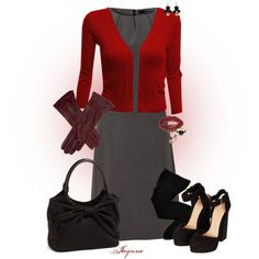 'Be Mine' V #dress #plaid #cardigan #gloves #leather #bow #anklestrapheels #heels #tights #valentines #polyvore #fashion #style #clothesonlyset #outfitonly