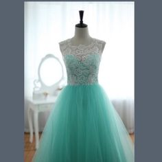 Turquoise and White Dress *NEW* Tulle at the bottom with a slip under, long gown, padding so no bra needed, white laced top, Dresses