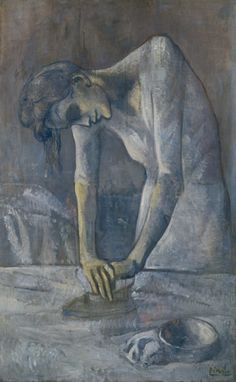 Pablo Picasso. Woman Ironing (La repasseuse). Paris, 1904 - Guggenheim Museum at http://www.guggenheim.org/new-york/collections/collection-online/artwork/3417
