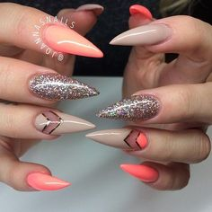 In search for some nail designs and ideas for the nails? Listed here is our list of 24 must-try coffin acrylic nails for trendy women. Sexy Nails, Hot Nails, Fancy Nails, Stiletto Nails, Trendy Nails, Hair And Nails, Stiletto Nail Designs, Nails Design, Fabulous Nails
