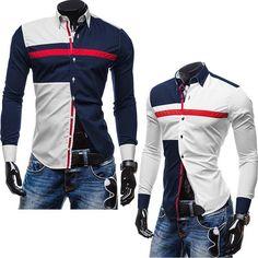 Para hombre tricolor camisa costura color de la camisa ocasional hit de moda de…