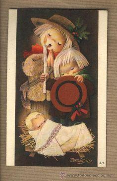 Postal Navidad. Joan Ferràndiz. 376. Pastorcitos adorando al niño. Escrita en 1965.  10,5 X 7
