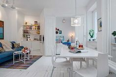 Light Interior Design and White Decorating in Scandinavian Style, Small Apartment Ideas