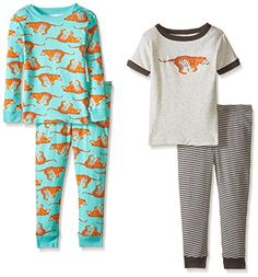 Carters Baby Boys 4 Piece PJ Set Baby  Tiger  9 Months
