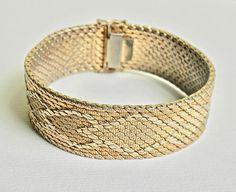 18K Gold Bracelet Gold Fill Italian Gold Bracelet Chevron Pattern Woven Mesh Retro Bracelet Yellow Gold Bracelet Vintage Jewelry by TheJewelryChain on Etsy