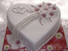 Small Heart Wedding Cake -Could also be top of multi layer cake (Small Wedding Cake) I like the top design. Omit fondant drape, and put hope on small cake, faith on medium cake and love on large cake with another set of hearts under each word, like in the Heart Shaped Wedding Cakes, Heart Shaped Cakes, Heart Cakes, Small Wedding Cakes, Beautiful Wedding Cakes, Wedding Cake Designs, Beautiful Cakes, Rodjendanske Torte, Wedding Anniversary Cakes