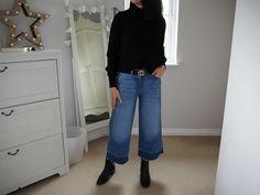 wide leg jeans, how to wear wide leg jeans, cropped jeans,