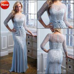 Black Sheer Long Sleeves Long Prom Dress With Slit | prom dress ...