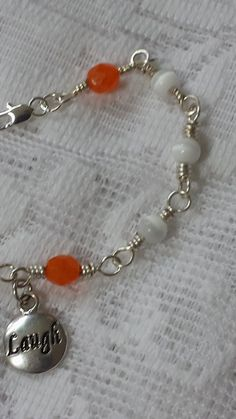 Orange Crystal and White Tiger's Eye Wire by GirlyPossessions
